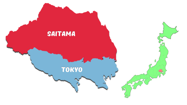 A map of Tokyo and Saitama Prefectures