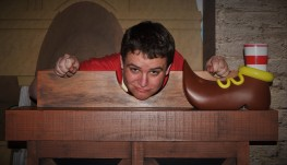 Stuck in the stocks with Buggy the Clown