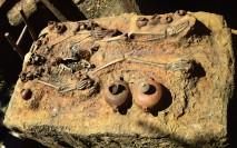 Skeletons surrounding Indiana Jones